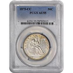 1875-CC Medium Mintmark. WB-101. Rarity-3. AU-55 PCGS.
