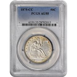 1875-CC Medium Mintmark. WB-101. Rarity-3. AU-55 PCGS.