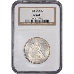1876-CC Small Mintmark. WB-101. Rarity-5 (as Uncirculated). MS-64 NGC.