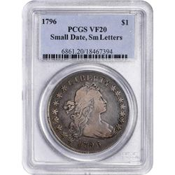 1796 B-2, BB-63. Small Date, Small Letters. Rarity-4. VF-20 PCGS
