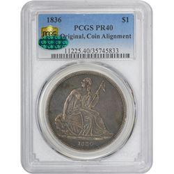 1836 Gobrecht Dollar. Judd-60, Pollock-65. Original. Plain Edge. Die Alignment I. Name on Base. Proo