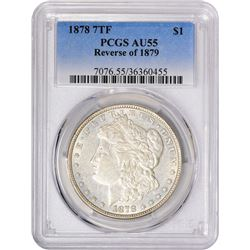 1878 7 Tailfeathers. Reverse of '79. VAM-Uncertain. AU-55 PCGS.