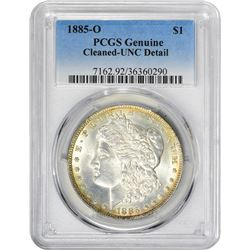 1885-O VAM-1. Normal Dies. Rarity-2. Genuine – Cleaned – Uncirculated Details PCGS.