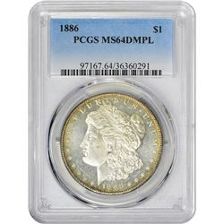 1886 VAM-1E. Curved Spiked 6. Rarity-5. MS-64 DMPL PCGS.