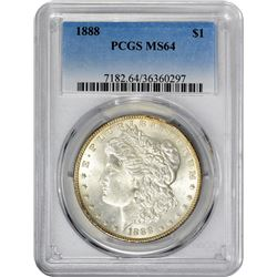 1888 VAM-9B. High Date, Counter-Clashed Neck. Rarity-5. MS-64 PCGS.