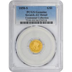 1858-S Genuine – Scratched – AU Details PCGS.