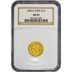 1834 Classic Head. No Motto. Breen-6138. Small Head, Large Arrowheads. AU-55 NGC.