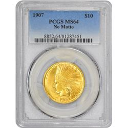 1907 Indian. No Motto - No Periods. MS-64 PCGS.