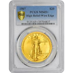 MCMVII (1907) High Relief. Wire Rim. MS-65+ PCGS.