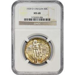 1939-D Oregon Trail Memorial 50¢. MS-68 NGC.