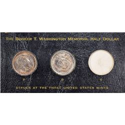 1946-PDS Booker T. Washington 50¢ Trio. Housed in Period-Style Black Leatherette Holder. Philadelphi