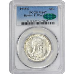 1948-S Booker T. Washington 50¢. MS-67 PCGS. CAC.