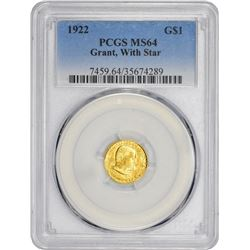 1922 Grant Gold $1. With Star. MS-64 PCGS