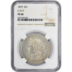 1879 Pattern $1. Judd-1617, Pollock-1813. Reeded Edge. Rarity-4. Proof-60 NGC.