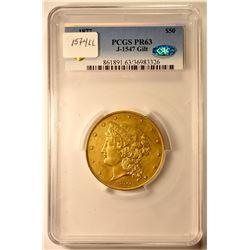 1877 $50 Half Union Pattern. Judd-1547, Pollock-1720. Large Head. Gilt Copper. Reeded Edge. R-7. Pro
