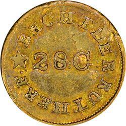 Undated (1834-1837) C. Bechtler Gold $1. Kagin-4. Reversed N. Rarity-4. Plain Edge. EF-40.