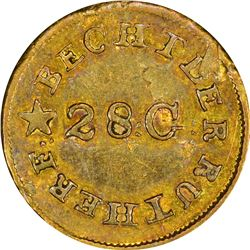 Undated (1834-1837) C. Bechtler Gold $1. Kagin-4. Reversed N. Rarity-4. Plain Edge. EF-40.