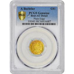 Undated (1842-1850) A. Bechtler $1 Gold. Kagin-24. Rarity-4. 27 G., 21 C. Plain Edge. Carolina Gold.