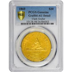 1860 Clark, Gruber & Co. Gold $20. Pike's Peak Gold. Kagin-4. Rarity-6+. Reeded Edge. Genuine – Graf