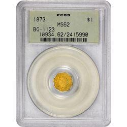 1873 Octagonal $1. BG-1123. Indian Head. Rarity-4+. MS-62 PCGS. OGH.