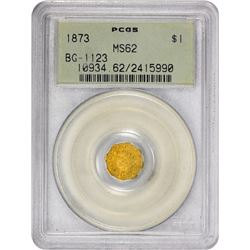 1873 Octagonal $1. BG-1123. Indian Head. Rarity-4+. MS-62 PCGS. OGH.