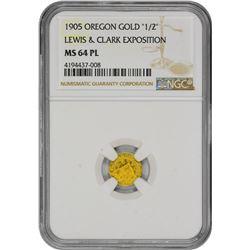 """Oregon. Portland. 1905 Lewis & Clark Exposition. """"1/2"""" Denomination. MS-64 PL NGC."""