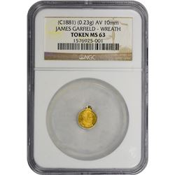 Undated (circa 1881) James Garfield Token. Gold. Looped. 10 mm. MS-63 NGC.
