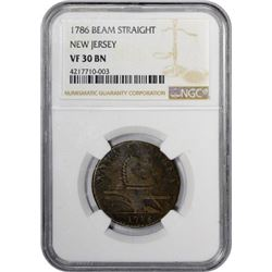 1786 New Jersey. M.14-J, W-4810. Straight Plow Beam. Rarity-1. VF-30 NGC