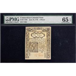 CT-205. Connecticut. June 19, 1776. 6 Pence. PMG Gem Uncirculated 65 EPQ.