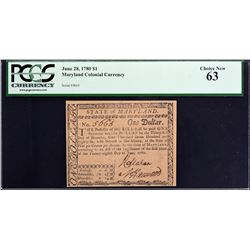MD-115. Maryland. June 28, 1780. $1. PCGS Currency Choice New 63.