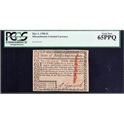 MA-279. Massachusetts. May 5, 1780. $2. PCGS Currency Gem New 65 PPQ.
