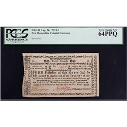 NH-141. New Hampshire. August 24, 1775. 3 Pounds. PCGS Currency Very Choice New 64 PPQ.