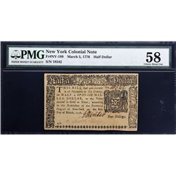NY-189. New York. March 5, 1776. 1/2 Dollar. PMG Choice About Uncirculated 58.