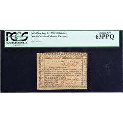 NC-176a. North Carolina. August 8, 1778. $5. PCGS Currency Choice New 63 PPQ.