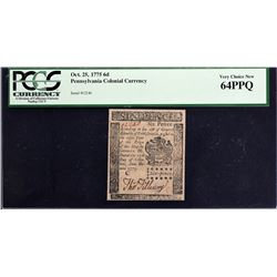 PA-183. Pennsylvania. October 25, 1775. 6 Pence. PCGS Currency Very Choice New 64 PPQ.