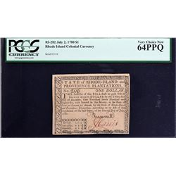 RI-282. Rhode Island. July 2, 1780. $1. PCGS Currency Very Choice New 64 PPQ.
