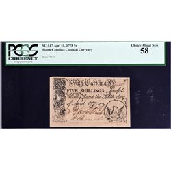 SC-147. South Carolina. April 10, 1778. 5 Shillings. PCGS Currency Choice About New 58.