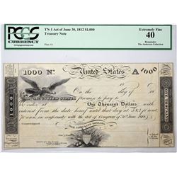 Fr. TN-1 $1,000 Plate A. Act of June 30, 1812. PCGS XF-40.
