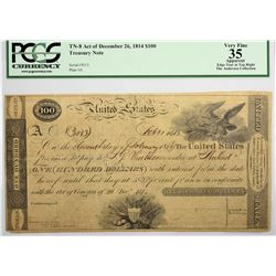 Fr. TN-8 $100 Plate A. Act of December 26, 1814. PCGS VF-35 Apparent
