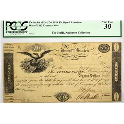 Fr. TN-9a $20 Plate A. Act of December 26, 1814. PCGS VF-30