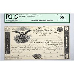 Fr. TN-9p $20 Plate A. Act of December 26, 1814. PCGS CHOICE ABOUT NEW-58