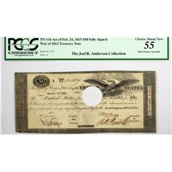 Fr TN-11c (currently certified TN-11b) $50 Plate A. March 25, 1815 (Act of February 24, 1815). No. 1