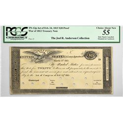 Fr. TN-12p $20 Plate D. March 25, 1815 (Act of February 24, 1815). PCGS Choice About New 55.