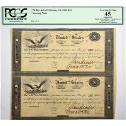 Fr. TN-14a $10 March 25, 1815 (Act of February 24, 1815). Plates G/H. Uncut partial sheet of two not