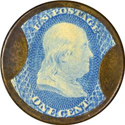 Joseph L. Bates Fancygoods. 1 Cent. HB-49, EP-6a, S-26. Choice About Uncirculated.