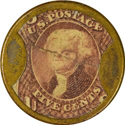 Joseph L. Bates Fancy Goods. 5 Cents. HB-54, EP-65, S-28a. About Uncirculated.