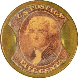 Burnett's Cocoaine Kalliston. 5 Cents. HB-75, EP-69, S-46. Extremely Fine to About Uncirculated.