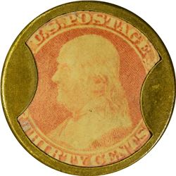 J. Gault. 30 Cents, Plain Frame. HB-139, EP-178, S-100. Choice Extremely Fine.