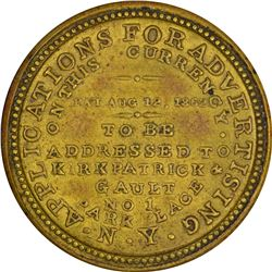 Kirkpatrick & Gault. 5 Cents. HB-162, EP-83, S-115. About Uncirculated.