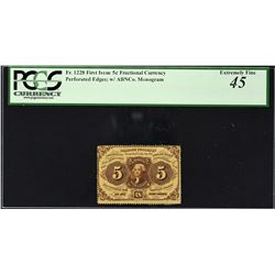 Lot of (4) First Issue. 5 Cents Frational Currency. PCGS Currency Graded.